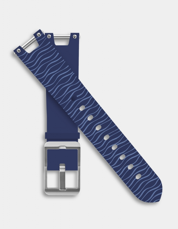 Reversible silicone strap - Marin blue pattern