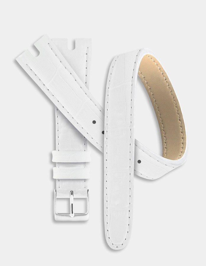 White double leather strap