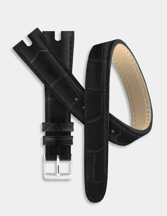 Bracelet double-tour cuir noir