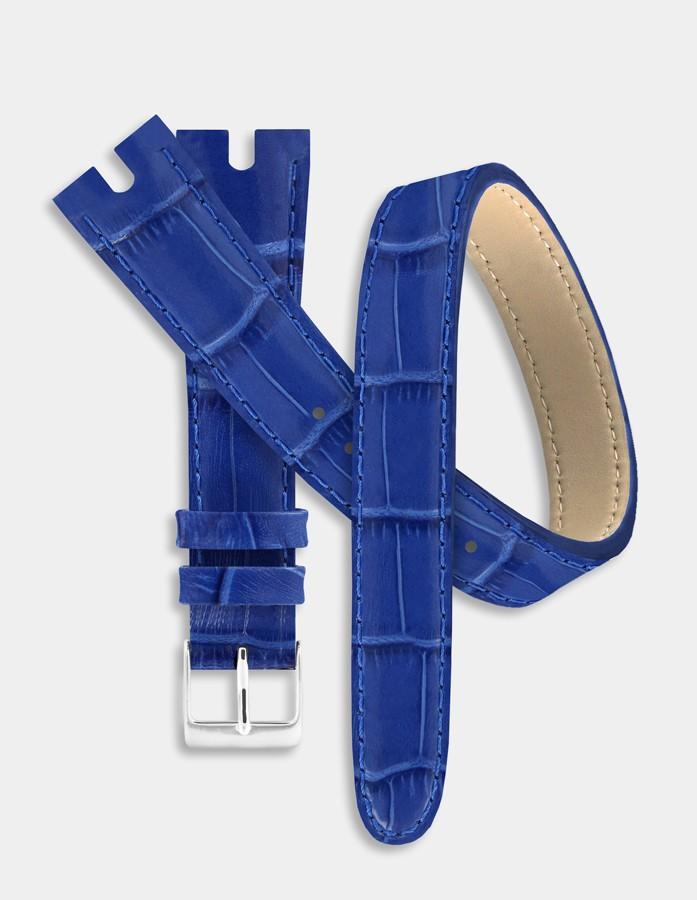 Bracelet double-tour cuir bleu